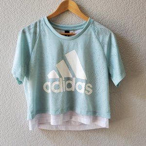 Adidas pastel blue crop jersey top double layer